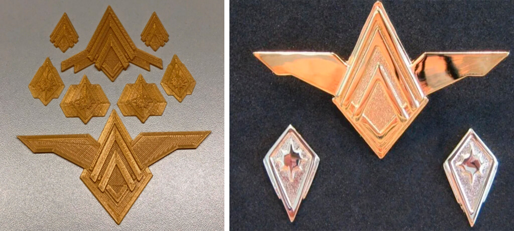 Battlestar Galactica Rank Pins and Pilot Insignia to 3D print