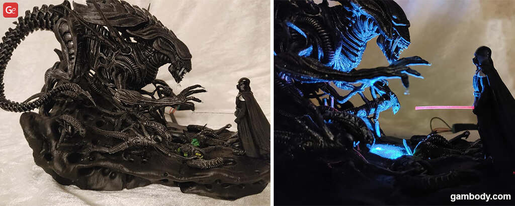 Darth Vader vs Xenomorph Queen 3D print