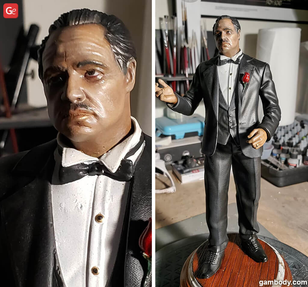 Painting eyes and skin of 3D print Godfather Don Vito Corleone figure
