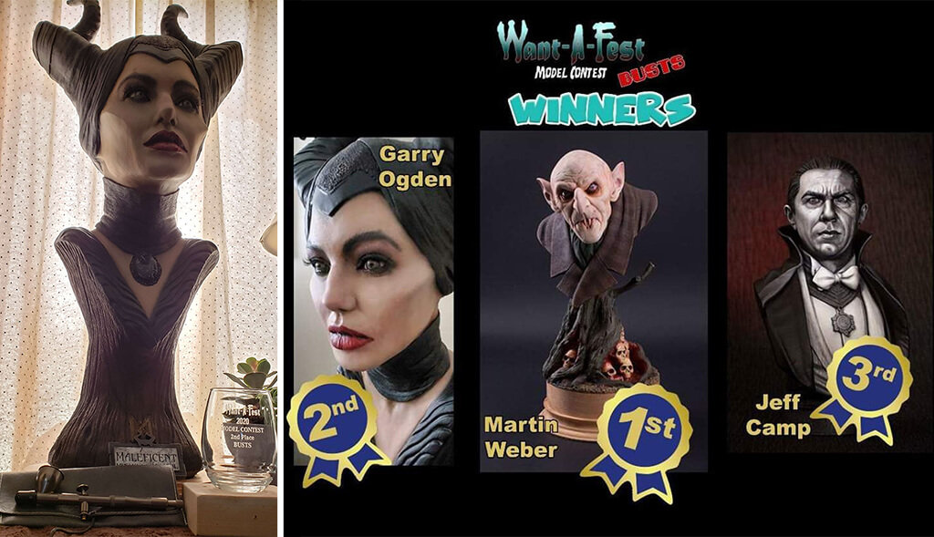 Maleficent bust second-place winner in New York Want-A-Fest Model Contest in 2020