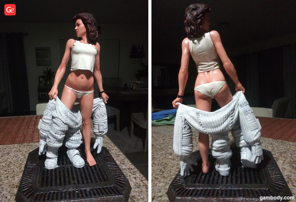 Ellen Ripley strip statue Alien movie models to 3D print