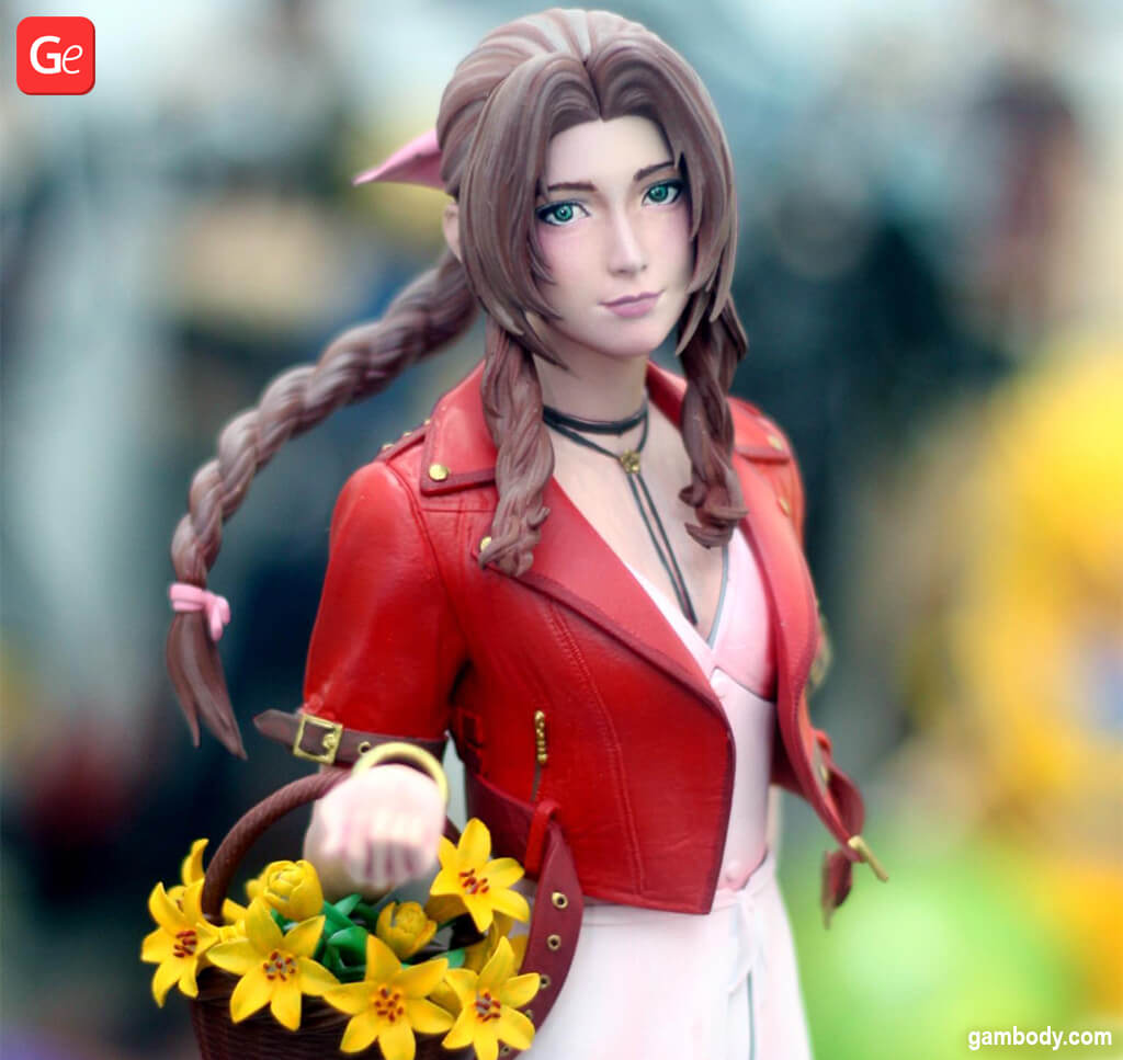 3D printed Aerith Gainsborough figure