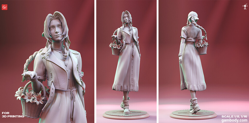 Aerith Gainsborough 3D model for 3D printing STL files