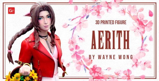 Beautiful Final Fantasy 7 Aerith Gainsborough 3D Printed by Wayne Wong