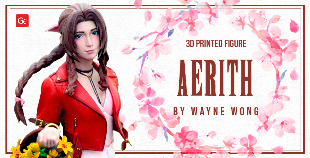 Beautiful Aerith Gainsborough 3D Printed Figure from Final Fantasy 7 by Wayne Wong