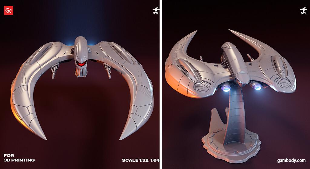 BSG Cylon Raider spaceship model for 3D printing