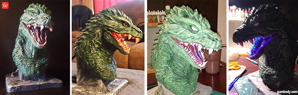 Godzilla bust 3D printed head model