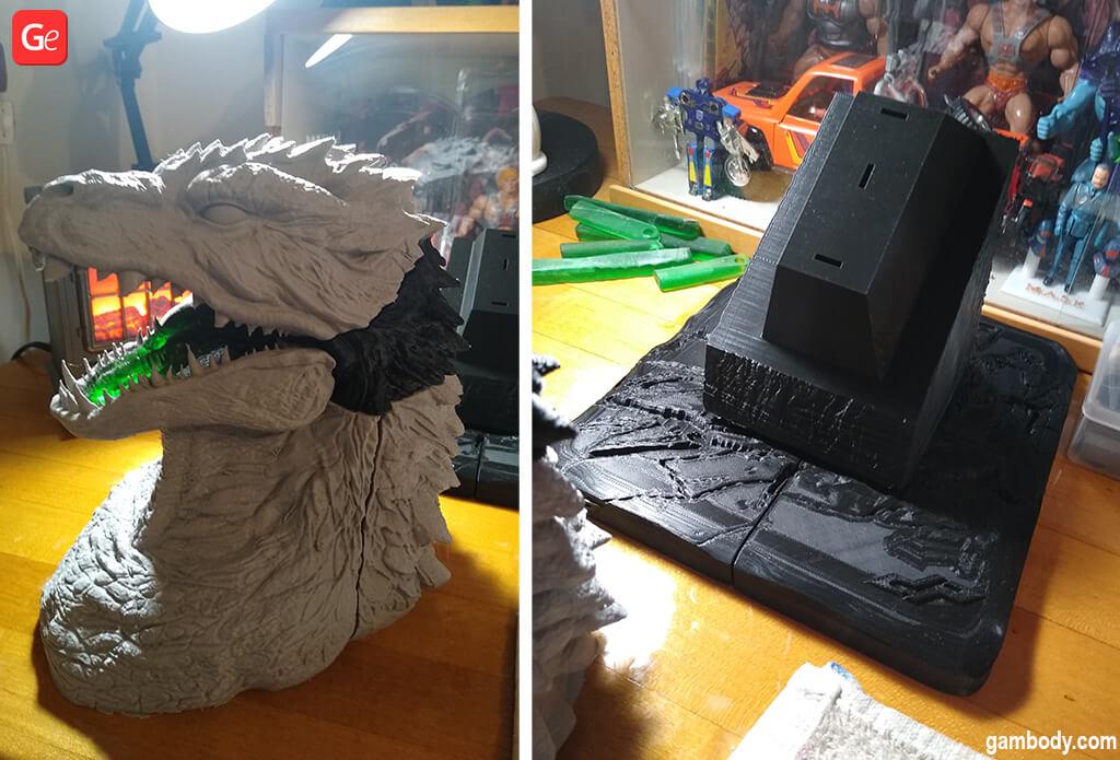 Godzilla head bust 3D print