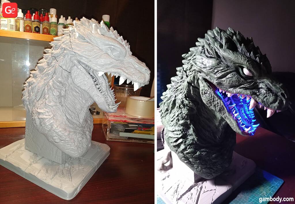 Godzilla 2000 figure bust 3D print with LED lights