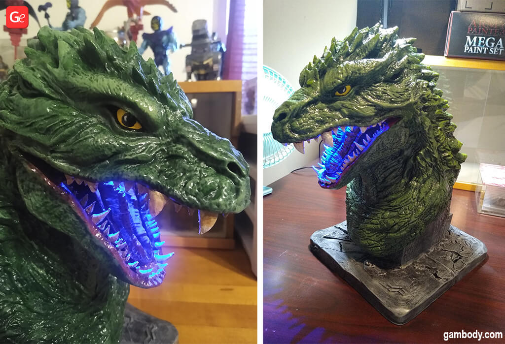 Blue LED lights in Godzilla 2000 bust 3D print