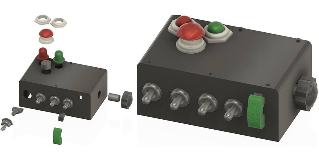 Switch box for DeLorean 3D printed car