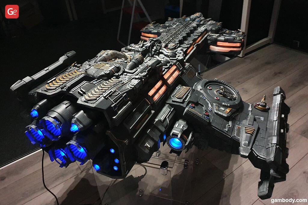 3D printed Terran Battlecruiser model with LED lights