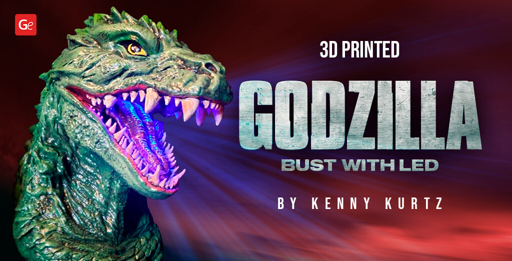 Iconic Godzilla 2000 Head Bust 3D Print with Lights by Kenny Kurtz