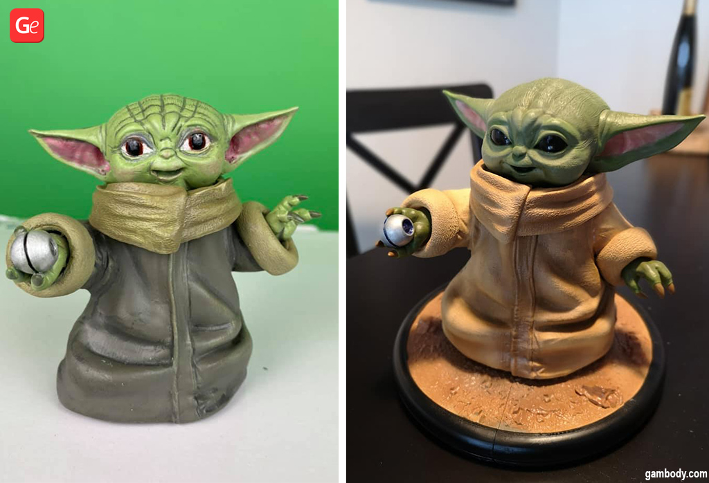 Baby Yoda 3D model printed into a figurine