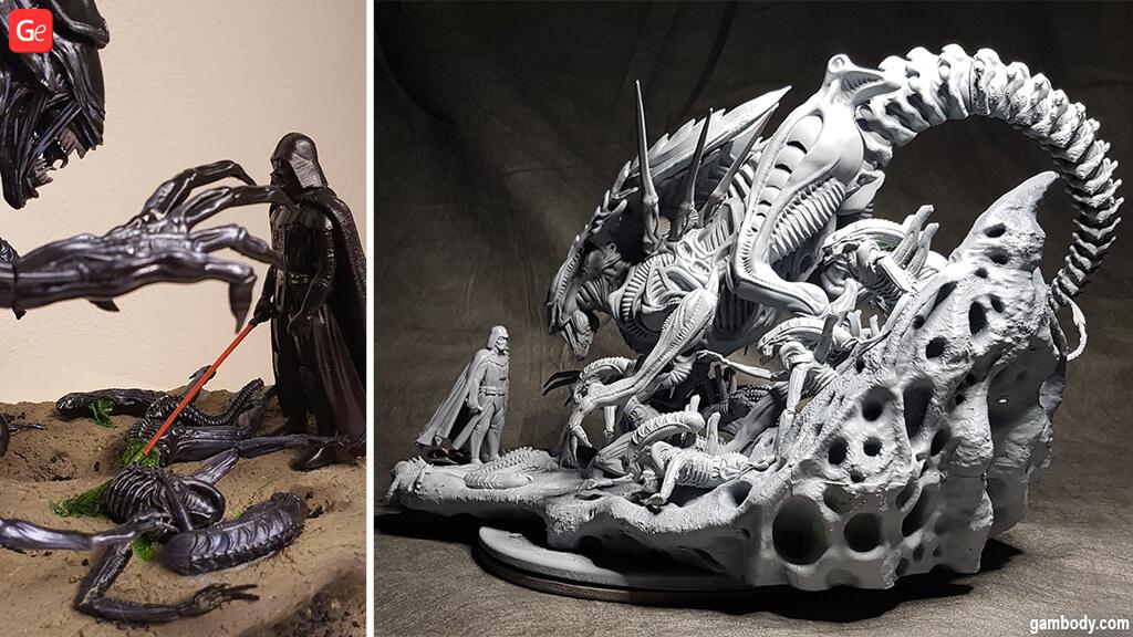 Darth Vader diorama Star Wars models 3D printed