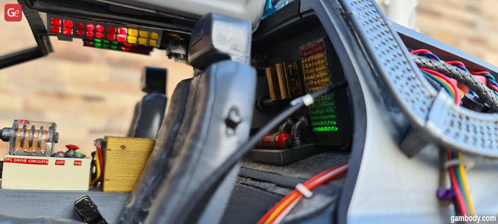 DeLorean Back to the Future interior close-up