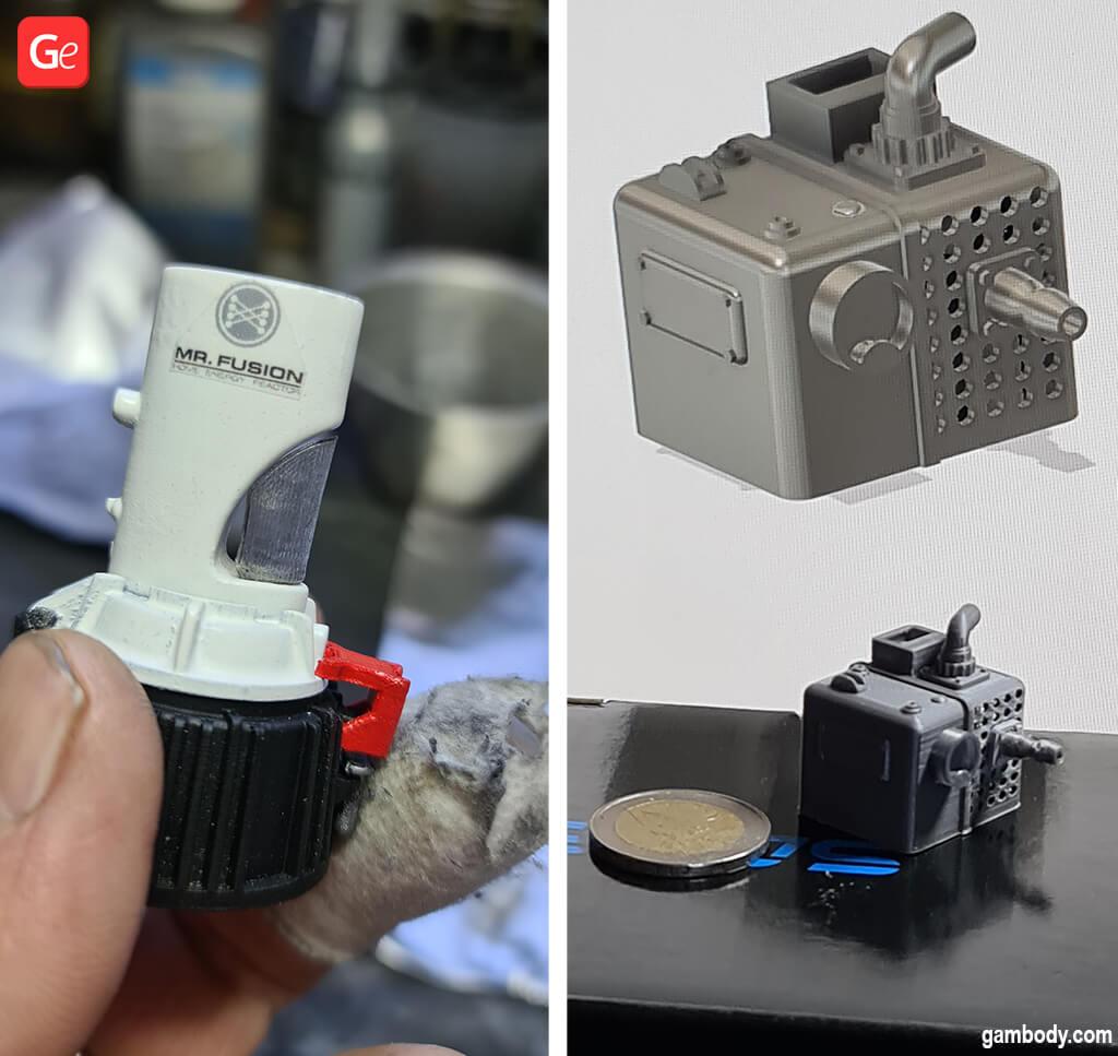DeLorean model parts, including Mr Fusion