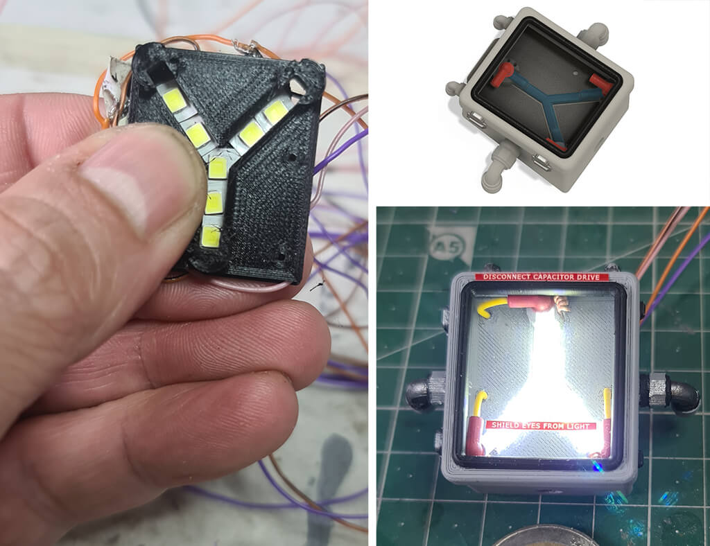 3D printed DeLorean flux capacitor with LED lights