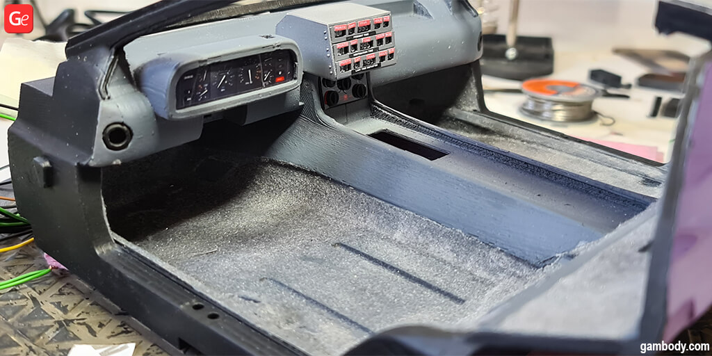 DeLorean Back to the Future interior upholstery of the floor