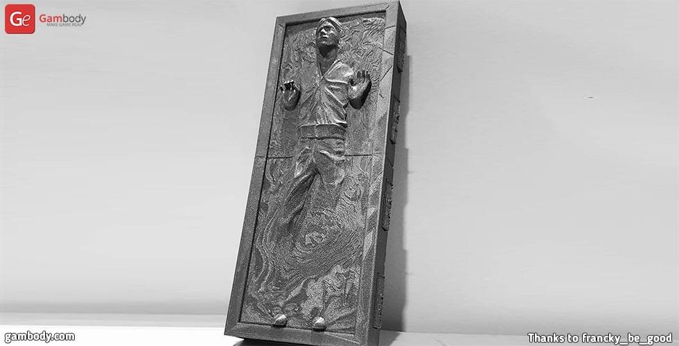 Star Wars Han Solo in Carbonite 3D printed wall sculpture