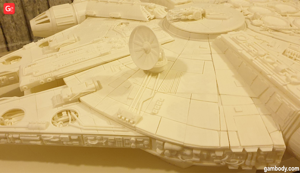 3D printed Millennium Falcon model with docking ring and tracery