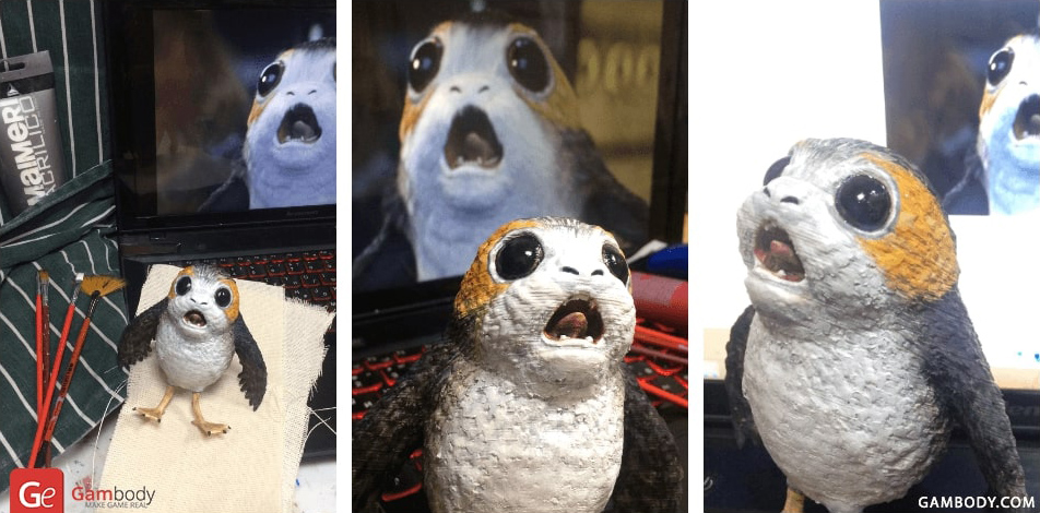 Porg bird 3D printed Star Wars models