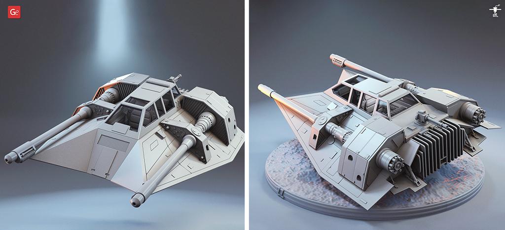 T-47 Airspeeder (Snowspeeder) Star Wars models ships for 3D printing