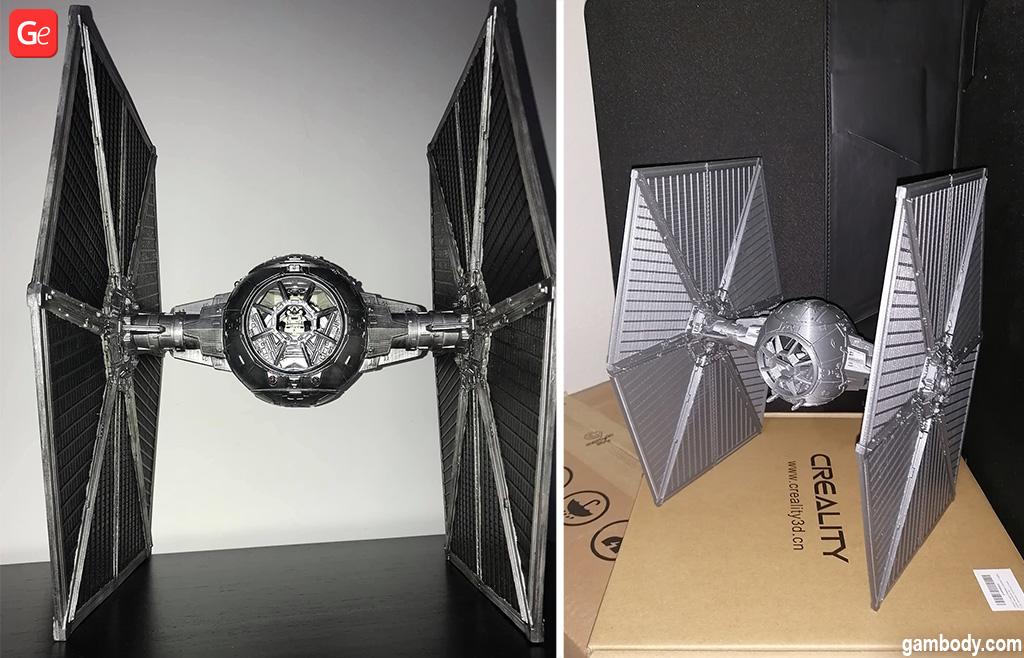 3D printed TIE Fighter Star Wars models