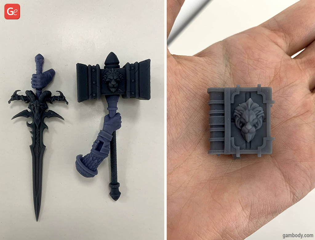 WoW Arthas armour and spellbook 3D printed in resin on Halot-One