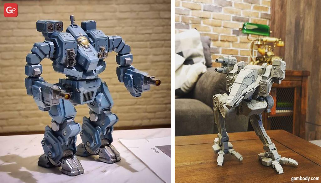 3D printed BattleTech Hellbringer and Raven models