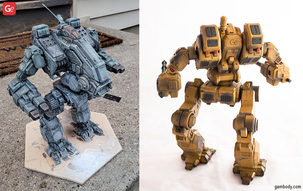 3D printed BattleTech Mad Dog mech models