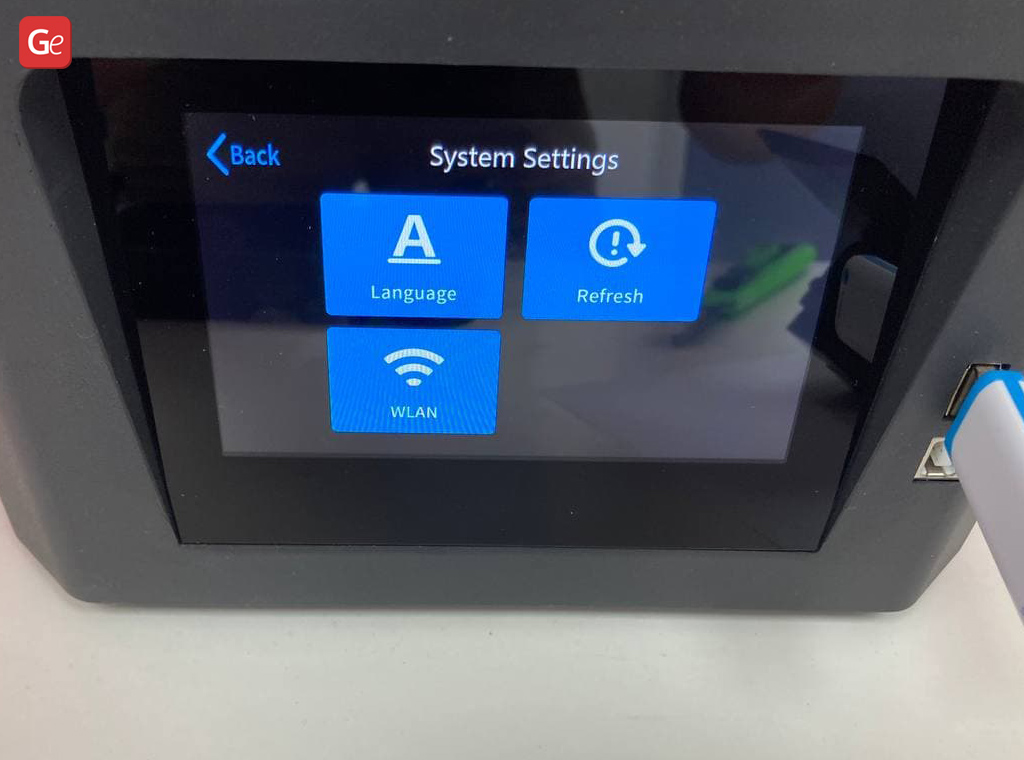 System Settings on Halot-One 3D printer