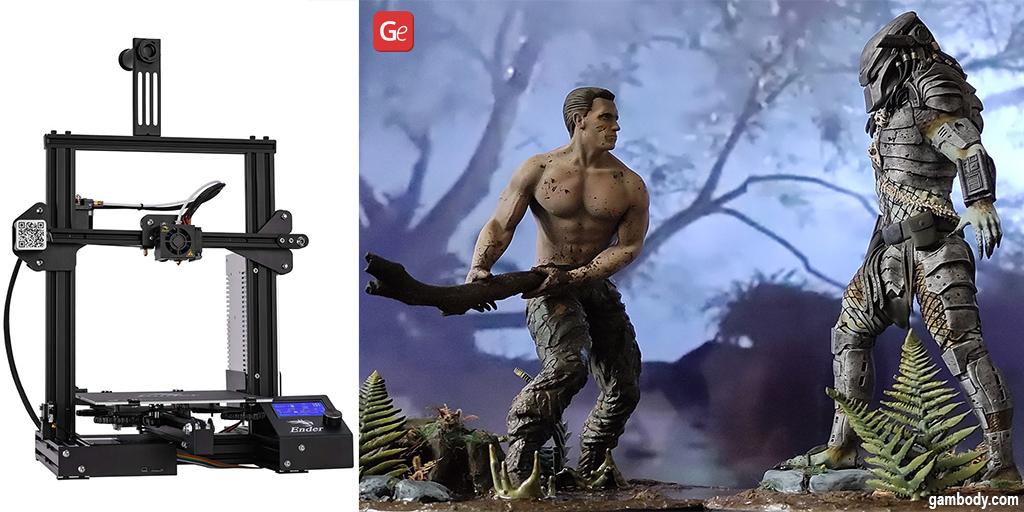 Dutch vs Predator diorama 3D printed on Creality Ender-3 affordable 3D printer