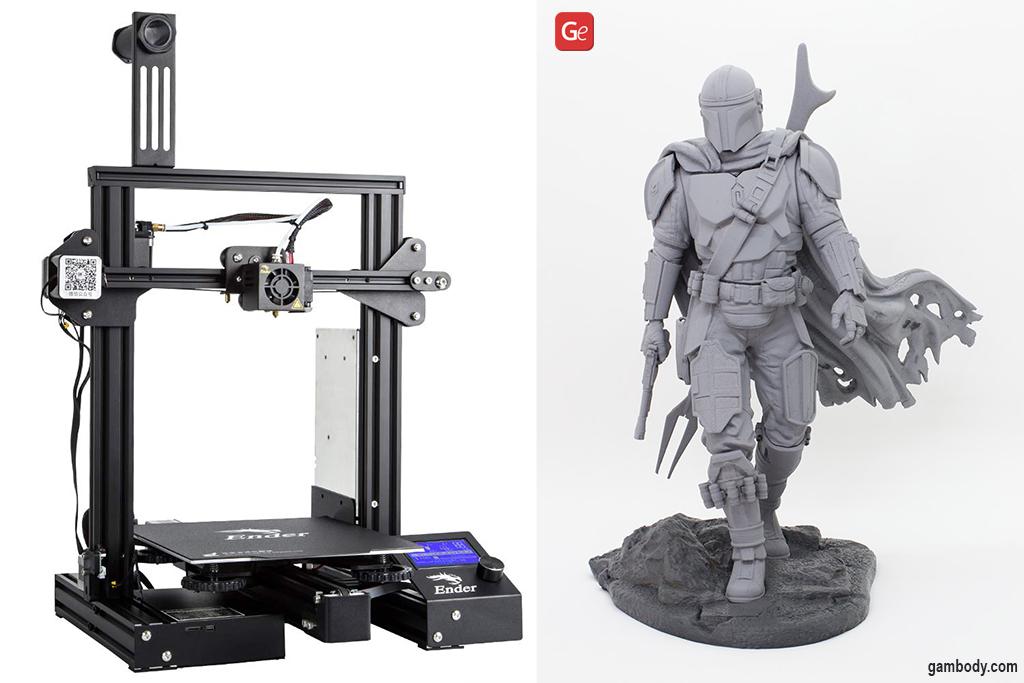 Mandalorian figure 3D printed on Ender-3 Pro