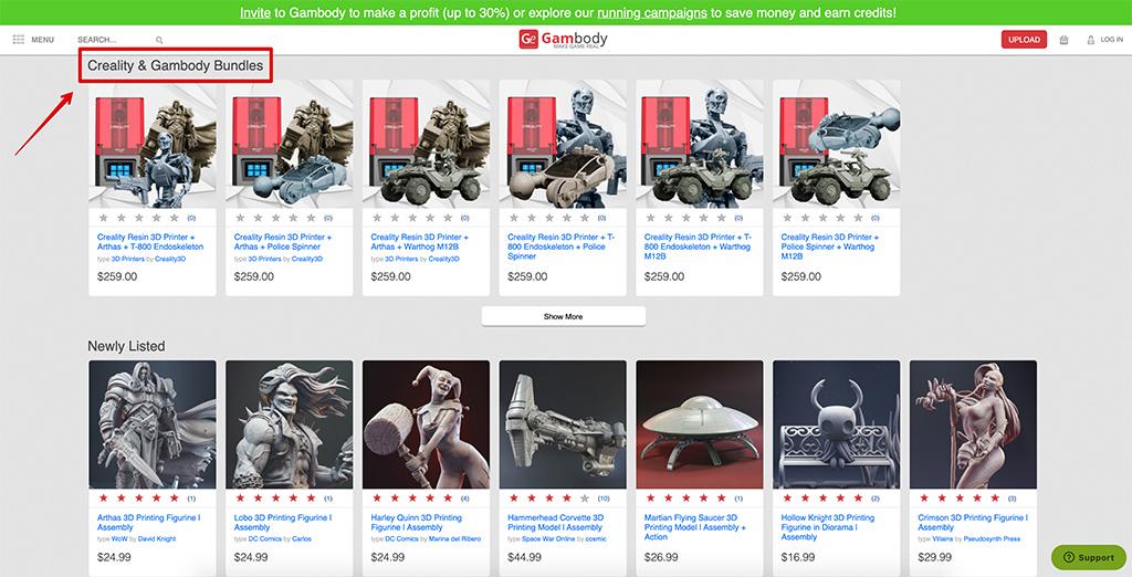 Creality & Gambody collaboration 3D printing bundles with Halot-One resin 3D printer