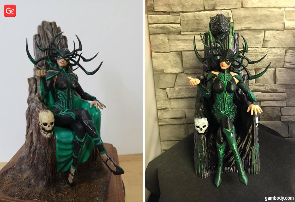 Hela on Throne 3D printed figures