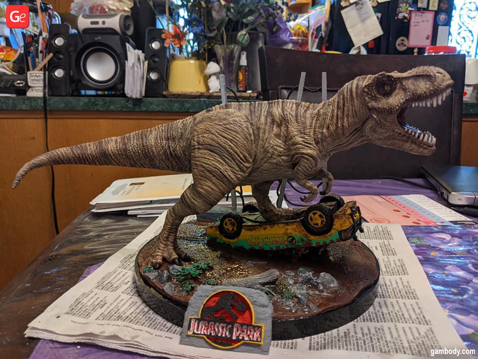 Jurassic Park figurine in diorama printed on budget 3D printer Qidi Tech X-Maker