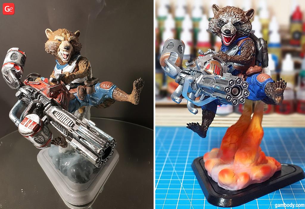 Rocket Raccoon Marvel figure 3D printed