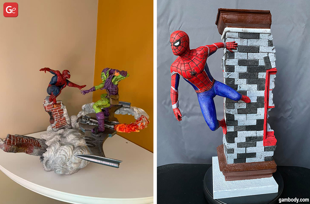 3D printed Marvel Spider-Man figures