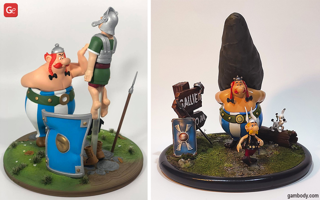 Asterix and Obelix figurines in 3D printed dioramas
