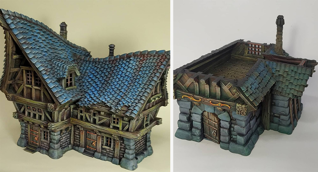 D&D pieces 3D printed buildings