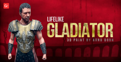 Faithful Gladiator 3D Model for 3D Printing Turned into Masterpiece by Arnd Dorn