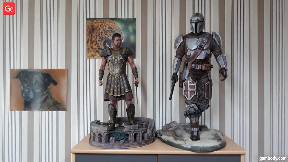 Maximus Gladiator statue and Mandalorian 3D print