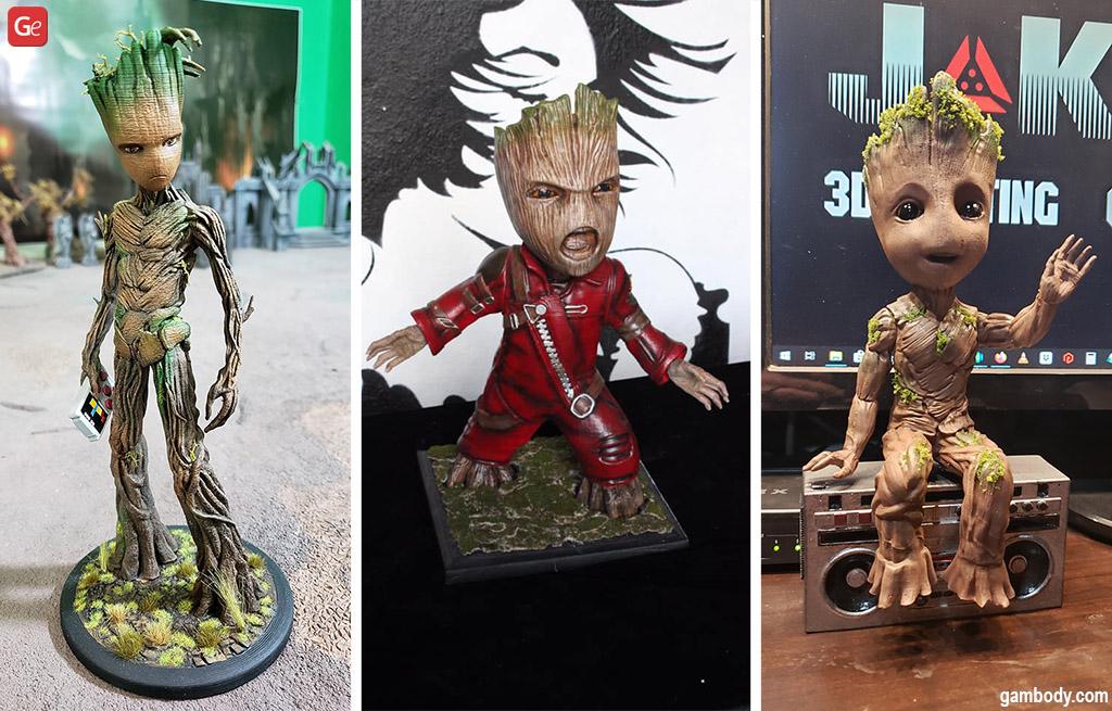 Cute Teenager and Baby Groot figurines Marvel (MCU) 3D models STL files