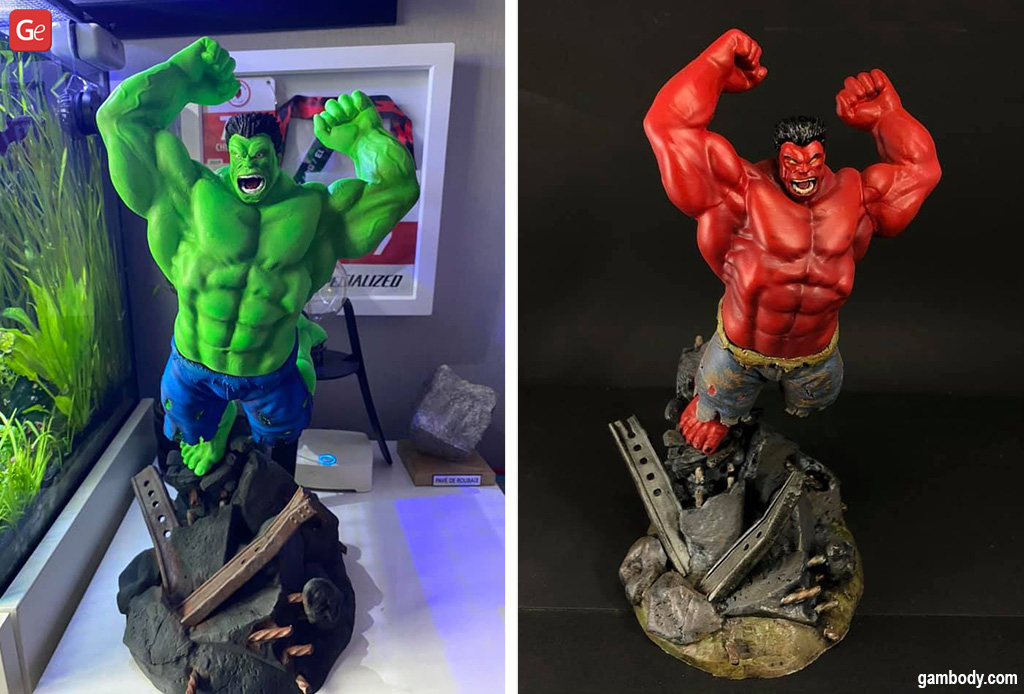 Hulk figurines made on a 3D printer