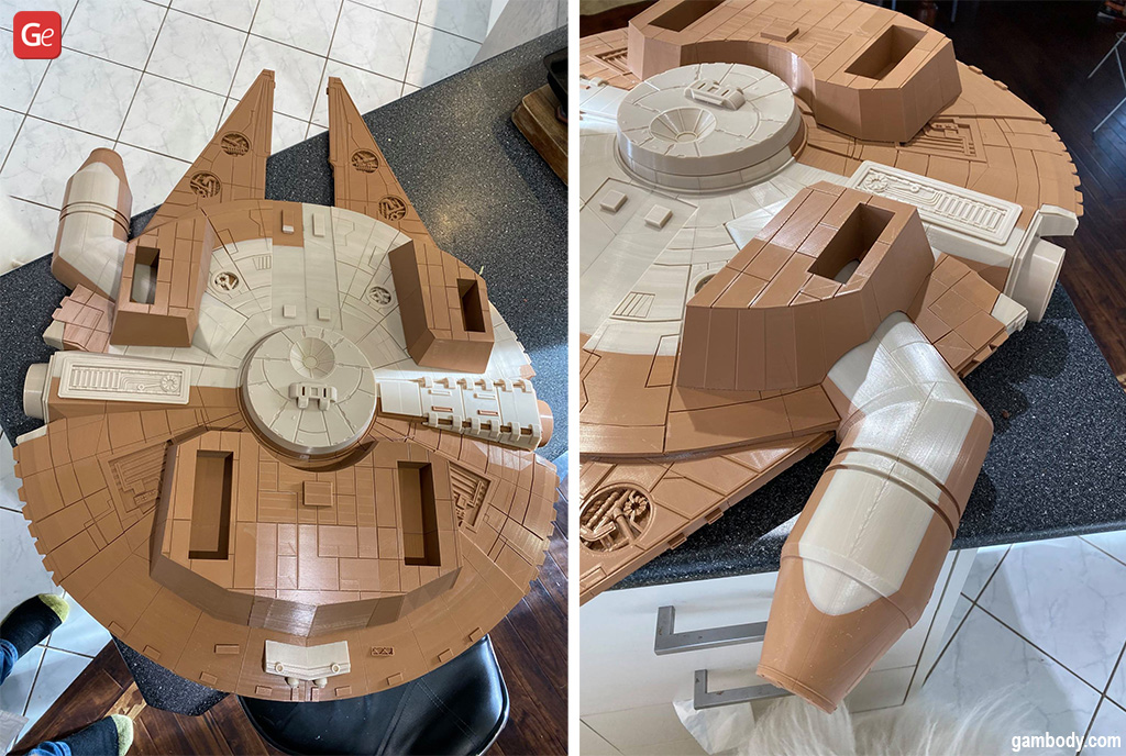 Millennium Falcon 3D printed ship from Star Wars