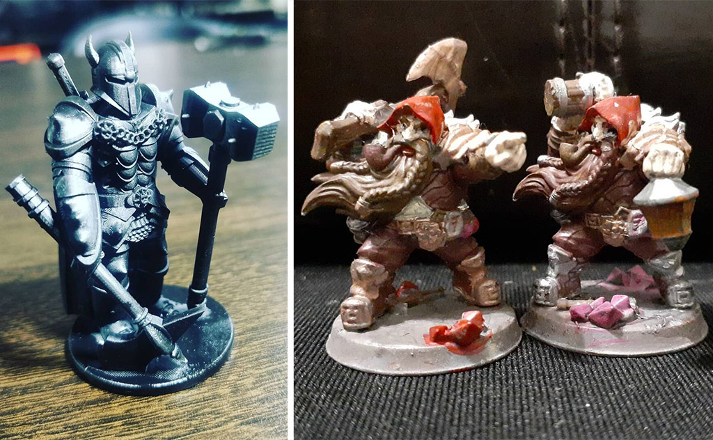 DnD props 3D printed dwarf and Chaos champion pieces