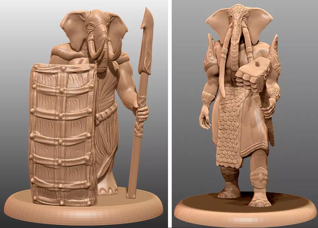 Loxodon DnD miniature to 3D print