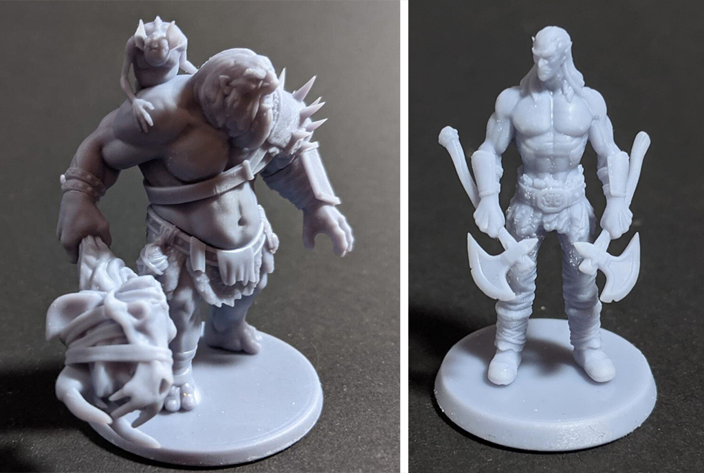 DnD ogre and elf 3D printed figures