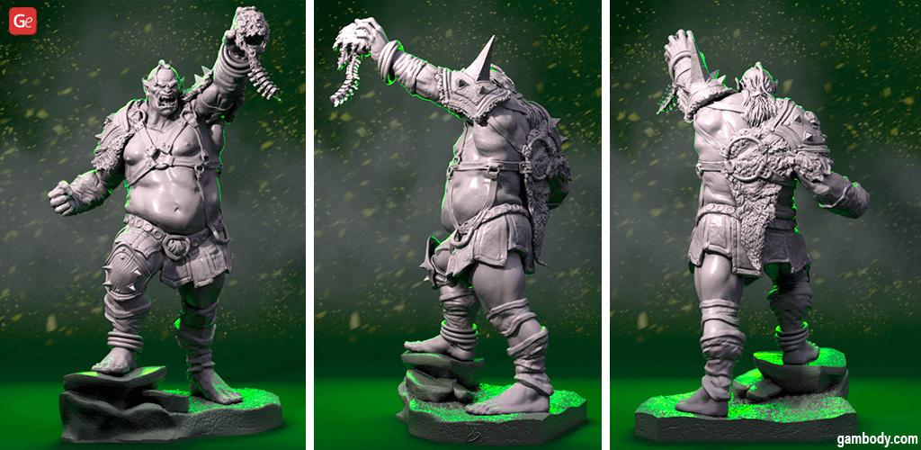 Orc 3D print D&D miniature